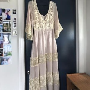 Anthropologie Champagne & Strawberry Lace Dress